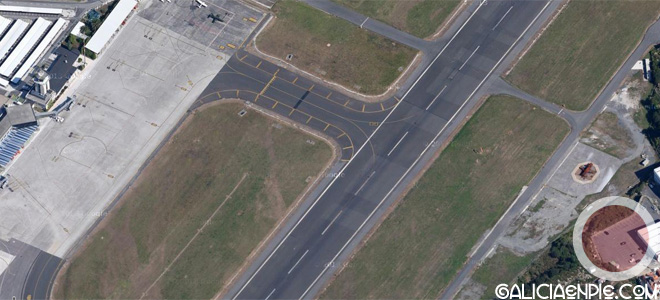 Situación del Mirador respecto al Aeropuerto de Alvedro